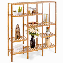 Load image into Gallery viewer, Heavy duty autentico 5 tiers design multifunctional bamboo shelf storage organizer plant rack display stand solid construction waterproof moistureproof perfect for bathroom balcony kitchen indoor outdoor use