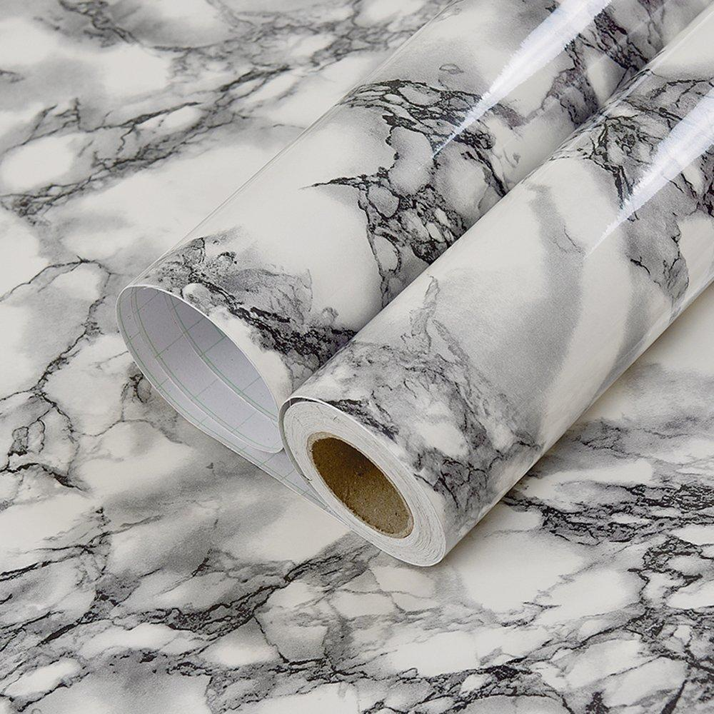 Amazon self adhesive black white marble gloss vinyl contact paper for kitchen countertop cabinets backsplash wall crafts projects 24 by 117 inches