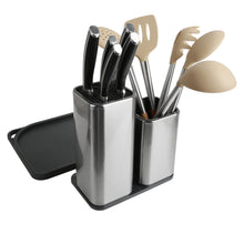 Load image into Gallery viewer, Buy now elfrhino utensils holder stainless steel kitchen tools knives holder knives block utensils container utensils crock flatware caddy cookware cutlery utensils holder multipurpose kitchen storage crock