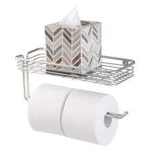 Load image into Gallery viewer, Selection interdesign classico paper towel holder with shelf for kitchen laundry garage wall mount satin