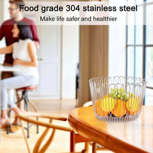 On amazon fruit basket bowl stainless steel large wire fruit storage basket with bread for kitchen counter lanejoy