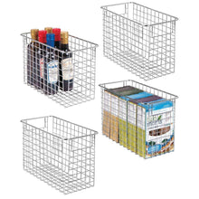 Load image into Gallery viewer, Shop here mdesign household metal wire storage organizer bins basket with handles for kitchen cabinets pantry bathroom landry room closets garage 4 pack 12 x 6 x 8 chrome