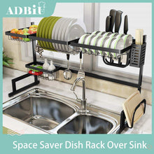 Load image into Gallery viewer, Great sink rack dish drainer for kitchen sink racks stainless steel over the sink shelf storage rack sink size 32 1 2 inch black 33 8x12 5x20 5inch