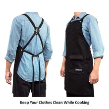 Load image into Gallery viewer, Shop here gidabrand professional grade chef kitchen apron with double towel loop 10 oz cotton for cooking bbq and grill men women design with 3 pockets quick release buckle and adjustable strap m to xxl