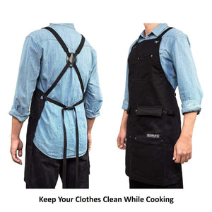 Shop here gidabrand professional grade chef kitchen apron with double towel loop 10 oz cotton for cooking bbq and grill men women design with 3 pockets quick release buckle and adjustable strap m to xxl