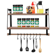 Load image into Gallery viewer, Storage organizer halcent wall shelves wood storage shelves with towel bar floating shelves rustic 2 tier bathroom shelf kitchen spice rack with hooks for bathroom kitchen utensils