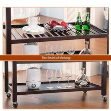 Load image into Gallery viewer, On amazon lz leisure zone rolling kitchen island serving cart wood trolley w countertop 2 drawers 2 shelves and lockable wheels dark brown
