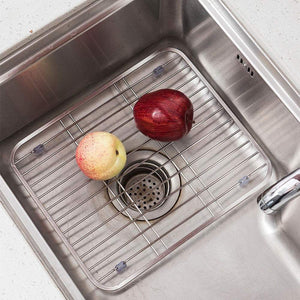 Storage organizer kitchen cutlery storage rack household 304 stainless steel tray rack sink dishes fruit and vegetable drain rack