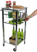 Load image into Gallery viewer, Products mind reader glass top mobile kitchen cart with wine bottle holder wine rack towel holder perfect kitchen island for cooking utensils kitchen appliances and food storage silver