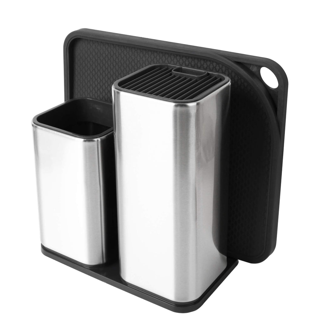 Budget elfrhino utensils holder stainless steel kitchen tools knives holder knives block utensils container utensils crock flatware caddy cookware cutlery utensils holder multipurpose kitchen storage crock