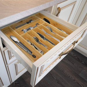 Discover the best bamboo kitchen drawer organizer expandable silverware organizer utensil holder and cutlery tray with grooved drawer dividers for flatware and kitchen utensils by royal craft wood