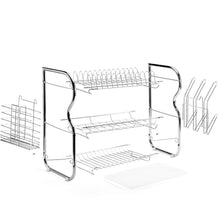 Load image into Gallery viewer, Best seller  glotoch dish drying rack 3 tier dish rack with utensil holder cup holder and dish drainer for kitchen counter top plated chrome dish dryer silver 17 2 x 9 5 x 15 inch