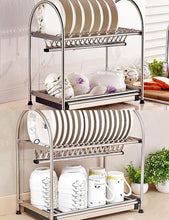 Load image into Gallery viewer, Cheap kitchen hardware collection 2 tier dish drying rack stainless steel stand on countertop draining rack 17 9 inch length 16 dish slots organizer with drainboard for cup plate bowl