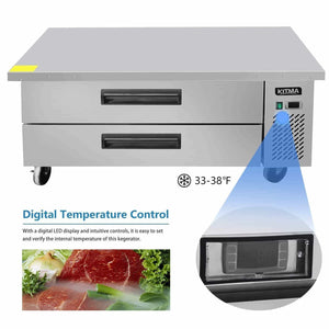 Shop here commercial 2 drawer refrigerated chef base kitma 60 inches stainless steel chef base work table refrigerator kitchen equipment stand 33 f 38 f