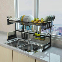 Load image into Gallery viewer, Best dish drying rack over sink display stand drainer stainless steel kitchen supplies storage shelf utensils holder kitchen supplies storage rack 85cm black