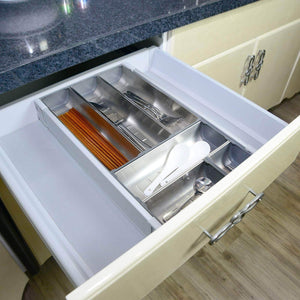 Discover drawer insert cabinet cutlery tray storage catering utensils box stainless steel kitchen 6 compartments 47 228 46 2cm