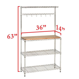 New seville classics bakers rack for kitchens solid wood top 14 x 36 x 63 h