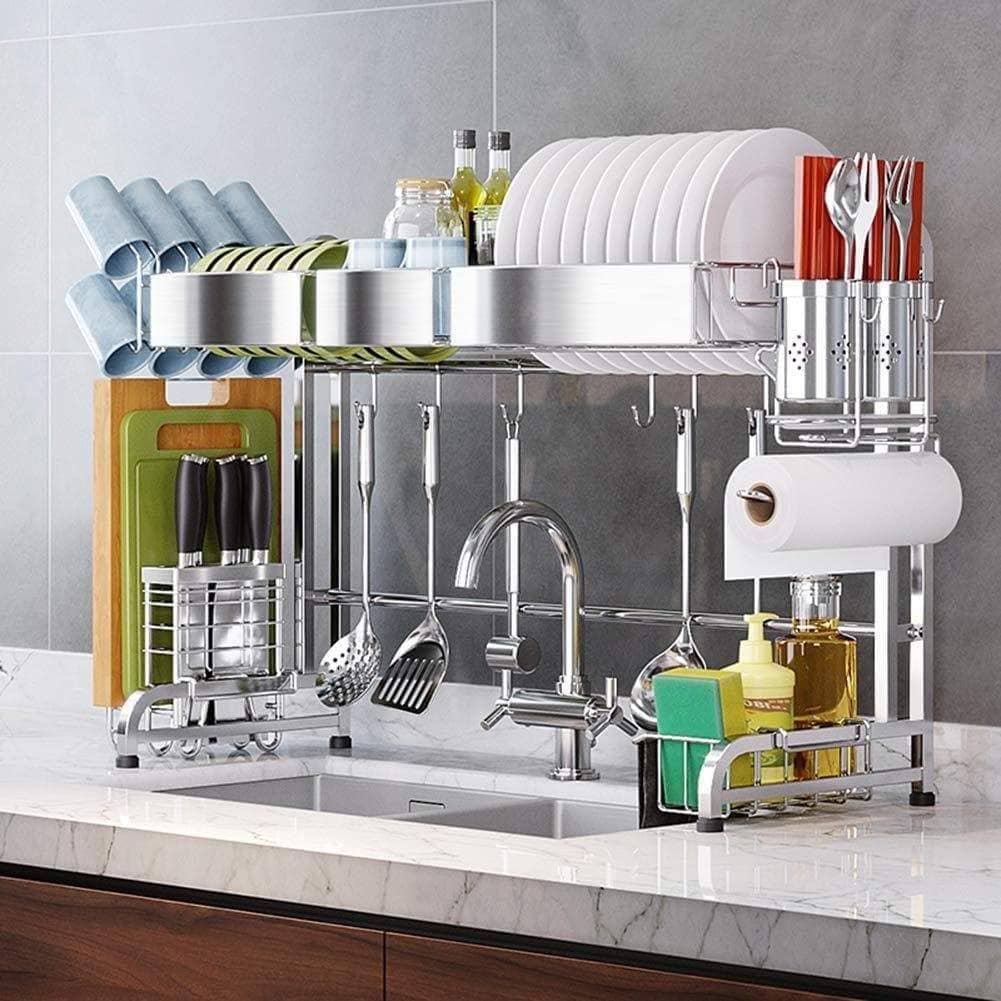 Save on dish drainer rack holder 304 stainless steel kitchen racks pool drying dishes dishes storage supplies dish rack sink drain rack