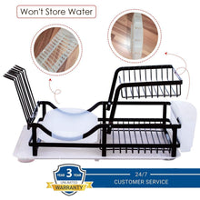 Load image into Gallery viewer, Save 2 tier dish rack dish drying rack with utensil holder and drain board wine glass holder easy storage rustproof kitchen counter dish drainer rack organizer iron