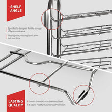 Load image into Gallery viewer, Buy now heavy duty cast iron pan and pot organizer rack 5 height adjustable shelves kitchen skillets cookware holder stainless steel 15 tall