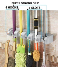 Load image into Gallery viewer, Explore free walker magic wall mount mop holder with 5 positons and 6 hooks broom holder hanger brush cleaning tools for home kitchen prefect for storage and organization 5 postions