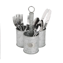 Load image into Gallery viewer, Featured mind reader 3sgcadut sil 3 cup utensils caddy cutlery serve ware holder flatware silverware organizer forks spoons knives kitchen silver one size metal