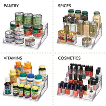 Load image into Gallery viewer, Shop for mdesign plastic spice and food kitchen cabinet pantry shelf organizer 3 tier storage modern compact caddy rack holds spices herb bottles jars for shelves cupboards refrigerator clear