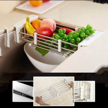 Load image into Gallery viewer, Organize with shelf liners kitchen shelf stainless steel kitchen sink shelf drain rack under drain sink drain rack kitchen utensil storage organization color silver size 57189 5cm