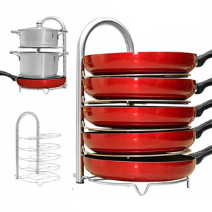 Related wiselife height adjustable pan pot organizer rack 5 tier stainless steel 10 11 12 inch heavy duty kitchenware cookware pot rack holder kitchen cabinet countertop storage solution