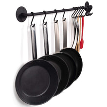 Load image into Gallery viewer, Top wallniture kitchen pot racks set of 2 wall rails 20 hooks solid iron 33 x 2 x 4 black