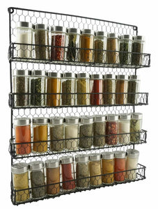 Budget 4 tier metal spice rack wall mount kitchen spices organizer pantry cabinet hanging herbs seasoning jars storage closet door cupboard mounted holder black