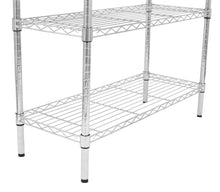 Load image into Gallery viewer, Cheap internets best 3 tier bakers rack chrome kitchen storage shelving adjustable wire stand with removable cutting board and 6 hanging hooks