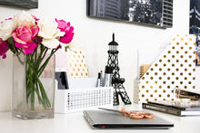 Load image into Gallery viewer, Shop here blu monaco wooden mail organizer 2 tier white desk organizer with cutout trellis design rustic country letter sorter kitchen counter organizer file folder holder