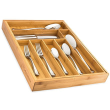 Load image into Gallery viewer, New bamboo expandable drawer organizer premium cutlery and utensil tray 100 pure bamboo adjustable kitchen drawer divider 7 compartments expandable