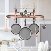 Load image into Gallery viewer, Discover the best bronze tone scrollwork metal ceiling mounted hanging rack for kitchen utensils pots pans holder