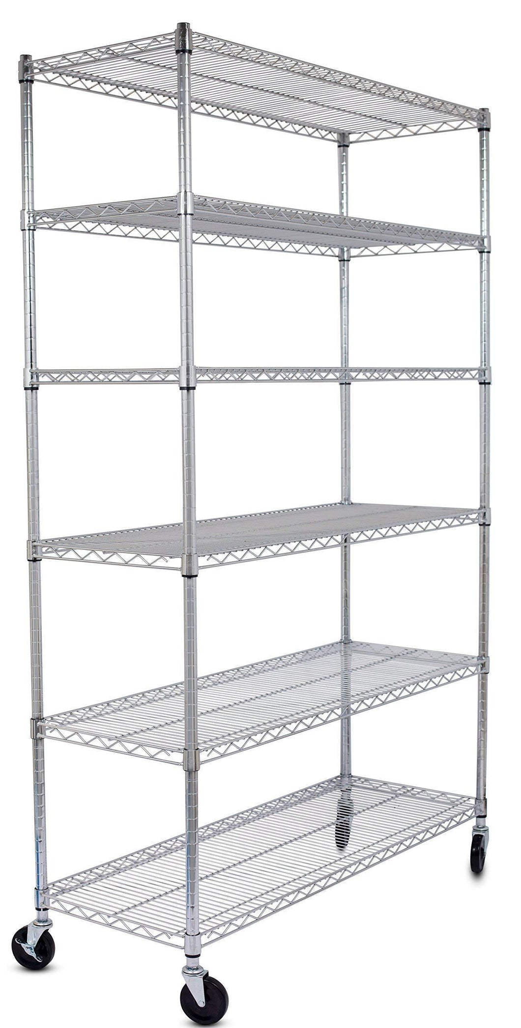 Related internets best 6 tier wire shelving chrome heavy duty shelf wide adjustable rack unit with locking wheels kitchen storage