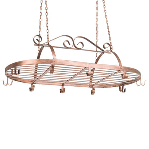 Featured bronze tone scrollwork metal ceiling mounted hanging rack for kitchen utensils pots pans holder