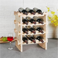 Load image into Gallery viewer, Organize with defway wood wine rack countertop stackable storage wine holder 12 bottle display free standing natural wooden shelf for bar kitchen 4 tier natural wood