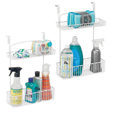 Load image into Gallery viewer, Shop here mdesign metal farmhouse over cabinet kitchen storage organizer holder or basket hang over cabinet doors in kitchen pantry holds dish soap window cleaner sponges 2 pack matte white