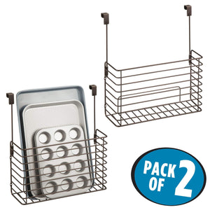 Buy now mdesign metal over cabinet kitchen storage organizer holder or basket hang over cabinet doors in kitchen pantry holds bakeware cookbook cleaning supplies 2 pack steel wire in bronze