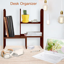 Load image into Gallery viewer, Results expandable natural bamboo desk organizer accessory adjustable desktop shelf rack multipurpose display for office kitchen books flowers and plants brown