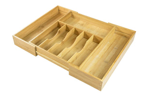 Heavy duty kitchenedge high capacity kitchen drawer organizer for silverware flatware and utensils holds 16 placesettings 100 bamboo