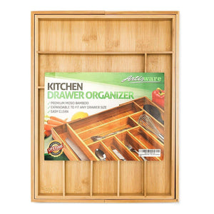 On amazon bamboo expandable drawer organizer premium cutlery and utensil tray 100 pure bamboo adjustable kitchen drawer divider 7 compartments expandable