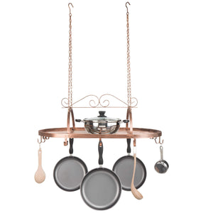 Explore bronze tone scrollwork metal ceiling mounted hanging rack for kitchen utensils pots pans holder