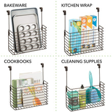 Load image into Gallery viewer, Discover the mdesign metal over cabinet kitchen storage organizer holder or basket hang over cabinet doors in kitchen pantry holds bakeware cookbook cleaning supplies 2 pack steel wire in bronze