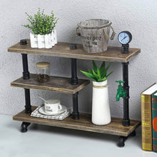 Load image into Gallery viewer, Products mbqq 3 tier industrial pipe wood shelf desk organizer 24 office organization and storage shelf desktop display shelves flower stand kitchen shelf countertop bookcase desktop racks