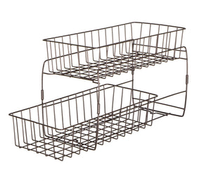 Select nice smart design 2 tier stackable pull out baskets sturdy wire frame design rust resistant vinyl coat for pantries countertops bathroom kitchen 18 x 11 75 inch bronze