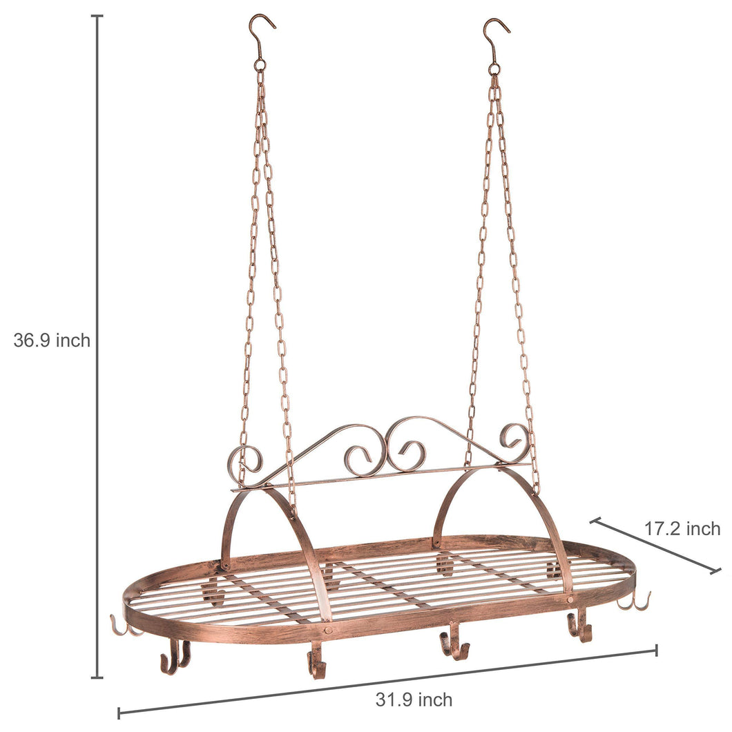 Discover bronze tone scrollwork metal ceiling mounted hanging rack for kitchen utensils pots pans holder