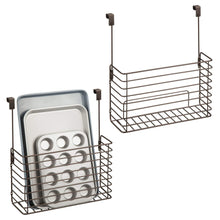 Load image into Gallery viewer, Buy mdesign metal over cabinet kitchen storage organizer holder or basket hang over cabinet doors in kitchen pantry holds bakeware cookbook cleaning supplies 2 pack steel wire in bronze