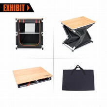 Load image into Gallery viewer, Try kingcamp foldable cook prep station serve cart campers kitchen aluminum frame bamboo desktop cooking table with storage organizer windscreen for camping picnic bbq and outdoor